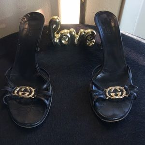 Gucci leather heeled slide with gold GG